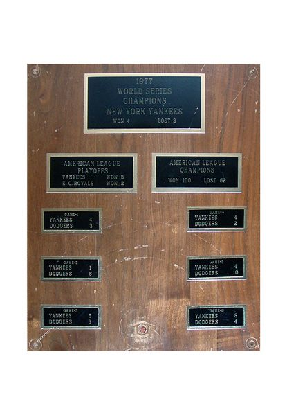 "New York Yankees 1977 World Champions 12""x15"" Plaque From the Old Yankee Stadium Club Level (1923-2008) (Steiner Sports COA)"